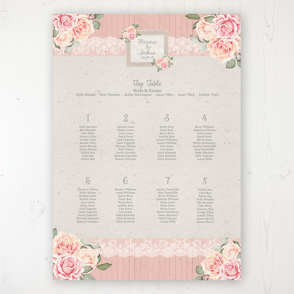 Coral Haze Wedding Table Plan Poster Personalised with Table and Guest Names