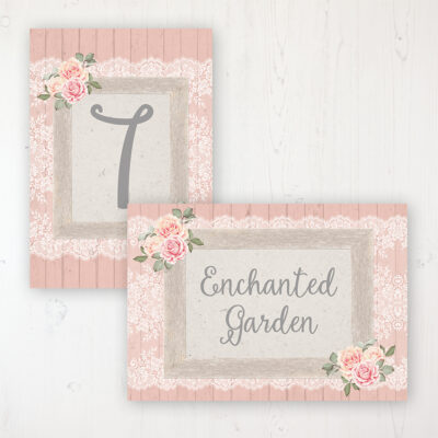 Coral Haze Wedding Table Name & Number Personalised Table Name Card and Number Card