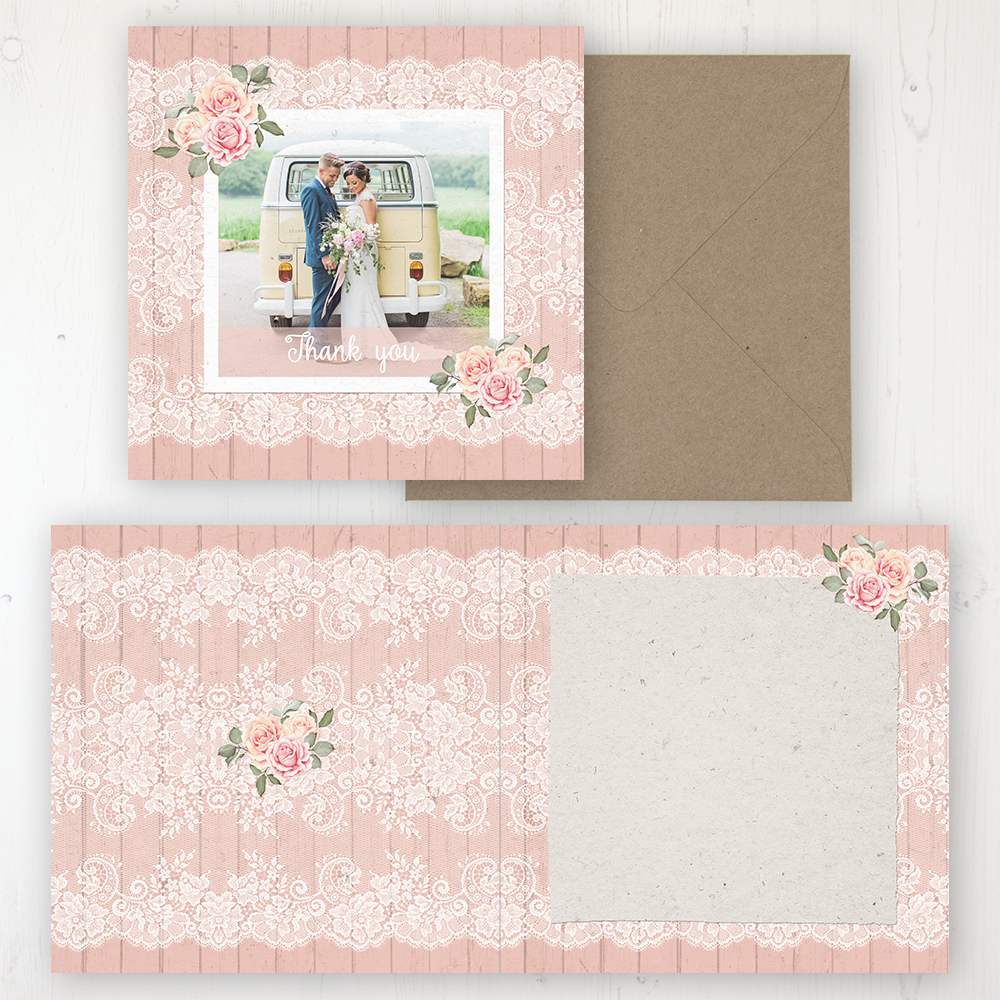 Coral Haze Wedding Thank You Card - Folded Personalised with a Message & Photo