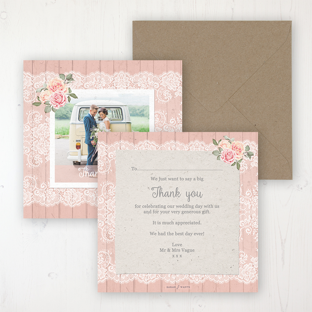 Coral Haze Wedding Thank You Card - Flat Personalised with a Message & Photo