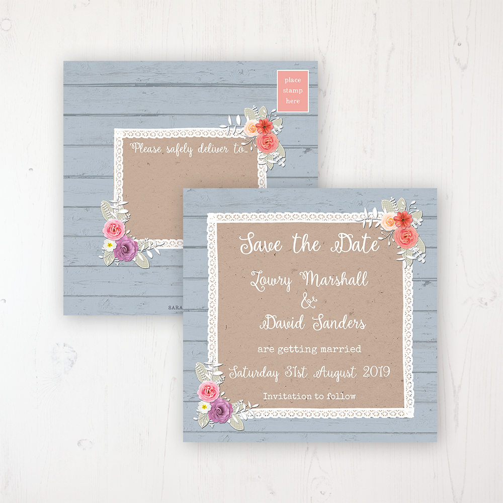 Cornflower Meadow Wedding Save the Date Postcard Personalised Front & Back