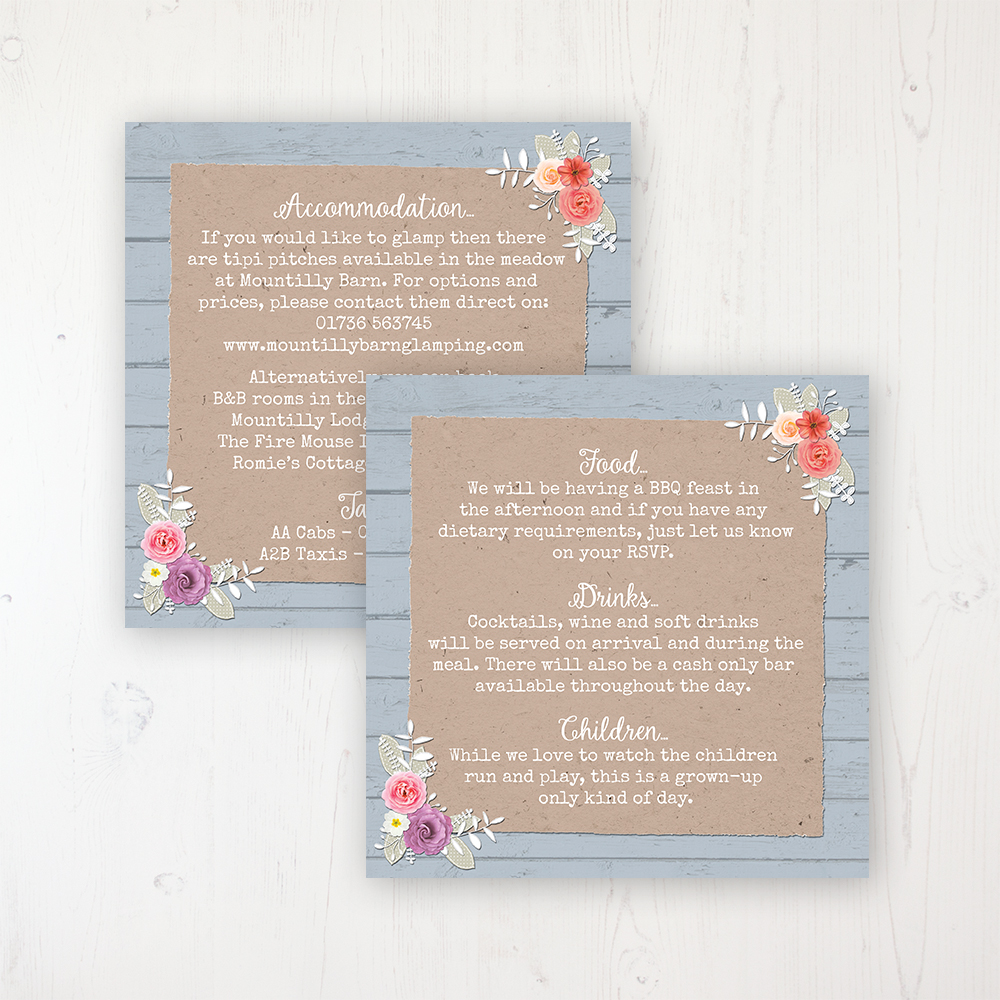 Cornflower Meadow Wedding Info Insert Card Personalised Front & Back