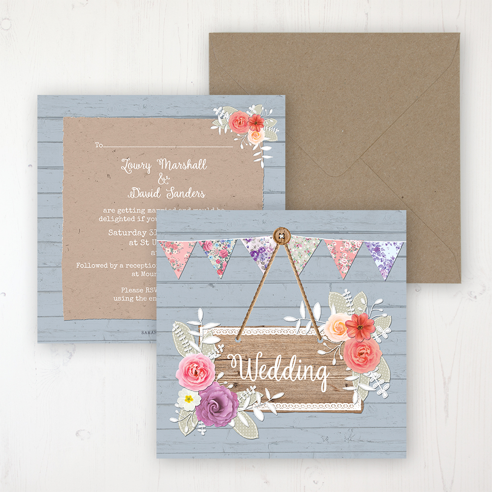 Cornflower Meadow Wedding Invitation - Flat Personalised Front & Back with Rustic Envelope