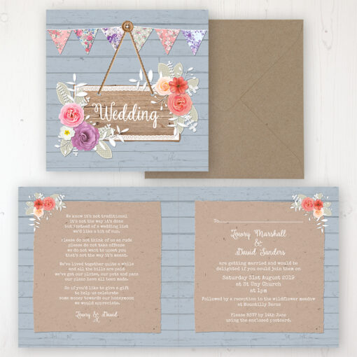Cornflower Meadow Wedding Invitation - Folded Personalised Front & Back with Rustic Envelope