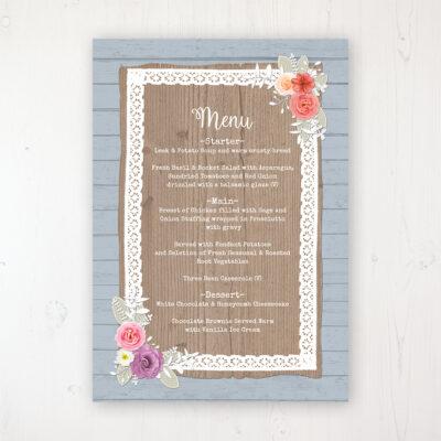 Cornflower Meadow Wedding Menu Card Personalised to display on tables