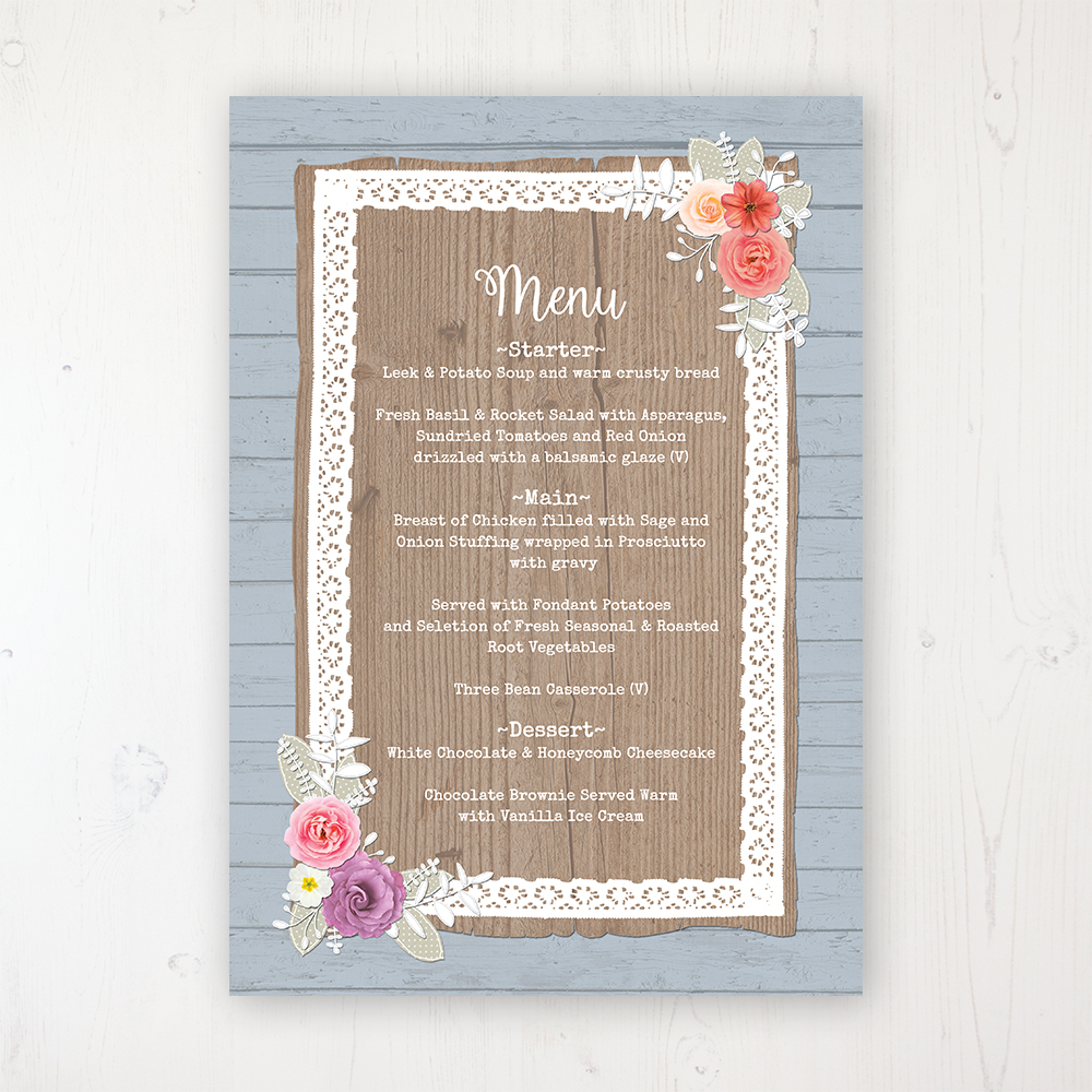 Cornflower Meadow Wedding Menu Card Personalised to display on tables