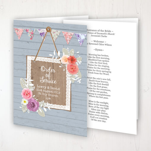 Cornflower Meadow Wedding Order of Service - Booklet Personalised Front & Inside Pages