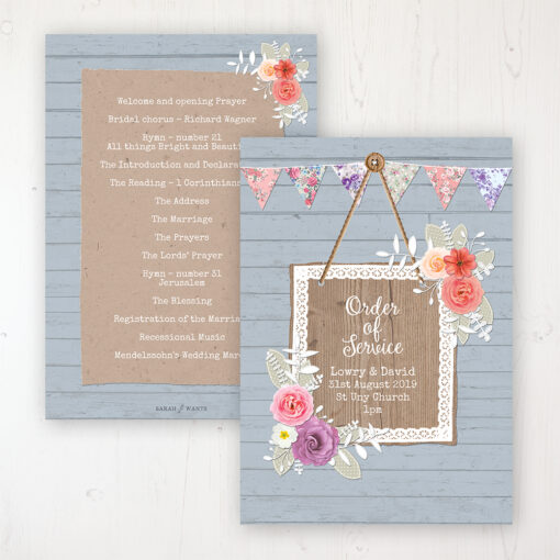 Cornflower Meadow Wedding Order of Service - Card Personalised front and back