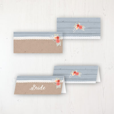 Cornflower Meadow Wedding Place Name Cards Blank and Personalised with Flat or Folded Option
