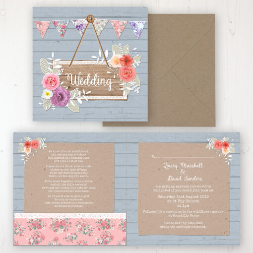 Cornflower Meadow Wedding Invitation - Folded Personalised Front & Back with Pocket in inside cover. Includes Rustic Envelope