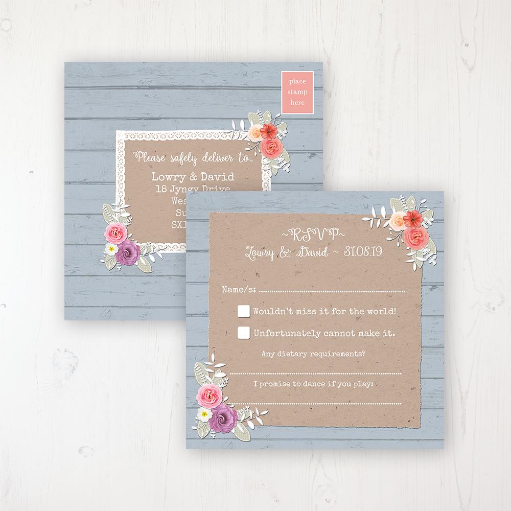 Cornflower Meadow Wedding RSVP Postcard Personalised Front & Back