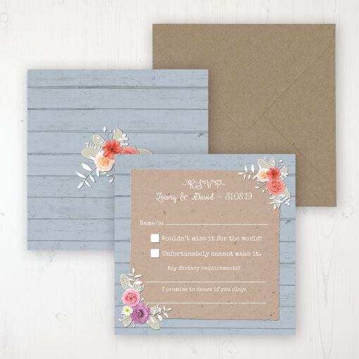 Cornflower Meadow Wedding RSVP Personalised Front & Back with Rustic Envelope