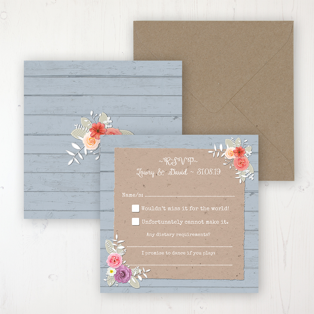 Cornflower Meadow Wedding RSVP Personalised Front & Back with Rustic Envelope