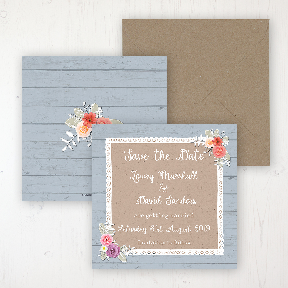 Cornflower Meadow Wedding Save the Date Personalised Front & Back with Rustic Envelope