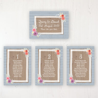 Cornflower Meadow Wedding Table Plan Cards Personalised with Table Names and Guest Names