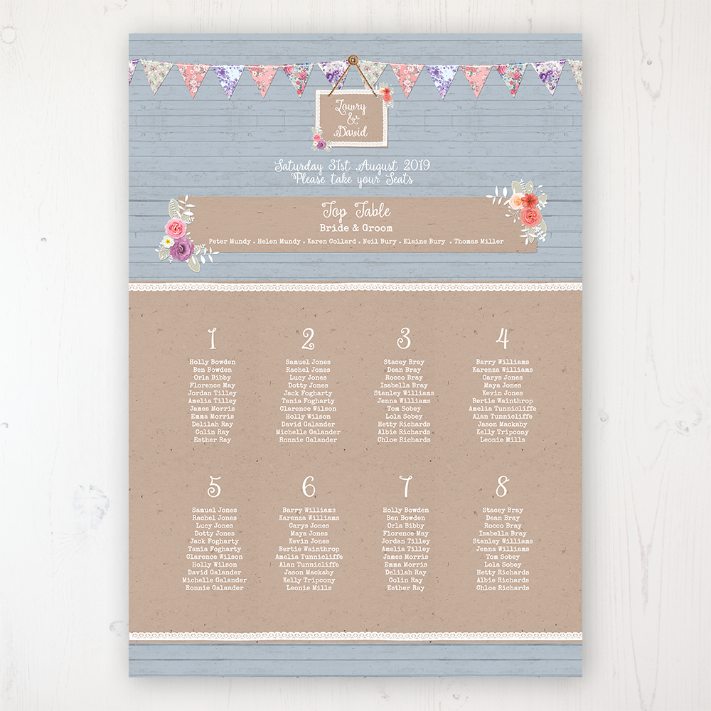 Cornflower Meadow Wedding Table Plan Poster Personalised with Table and Guest Names