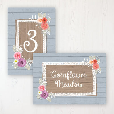 Cornflower Meadow Wedding Table Name & Number Personalised Table Name Card and Number Card
