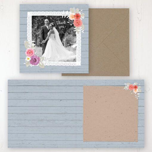 Cornflower Meadow Wedding Thank You Card - Folded Personalised with a Message & Photo