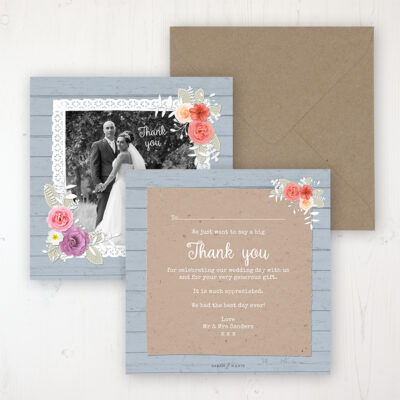 Cornflower Meadow Wedding Thank You Card - Flat Personalised with a Message & Photo