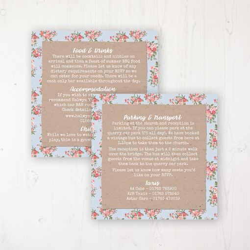 Country Wedding Info Insert Card Personalised Front & Back