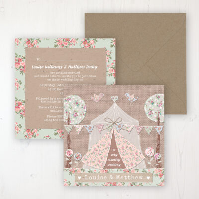 Country Wedding Invitation - Flat Personalised Front & Back with Rustic Envelope