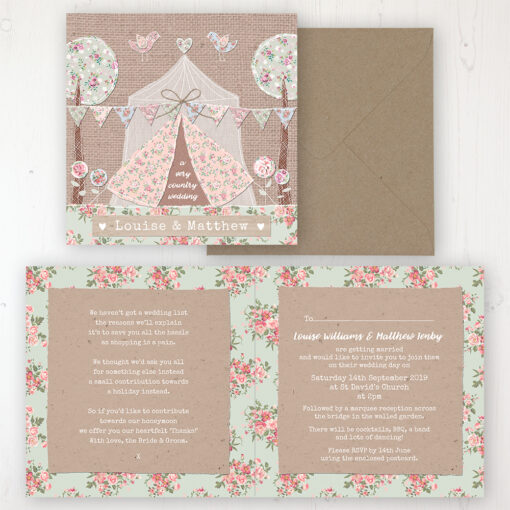 Country Wedding Invitation - Folded Personalised Front & Back with Rustic Envelope