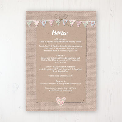 Country Wedding Menu Card Personalised to display on tables