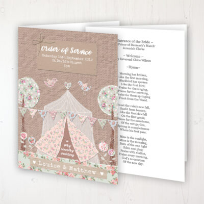 Country Wedding Wedding Order of Service - Booklet Personalised Front & Inside Pages