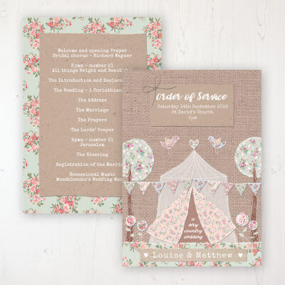 Country Wedding Wedding Order of Service - Card Personalised front and back