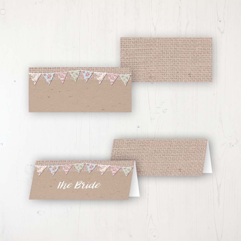 Country Wedding Place Name Cards Blank and Personalised with Flat or Folded Option