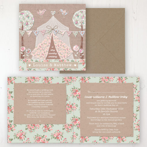 Country Wedding Invitation - Folded Personalised Front & Back with Pocket in inside cover. Includes Rustic Envelope