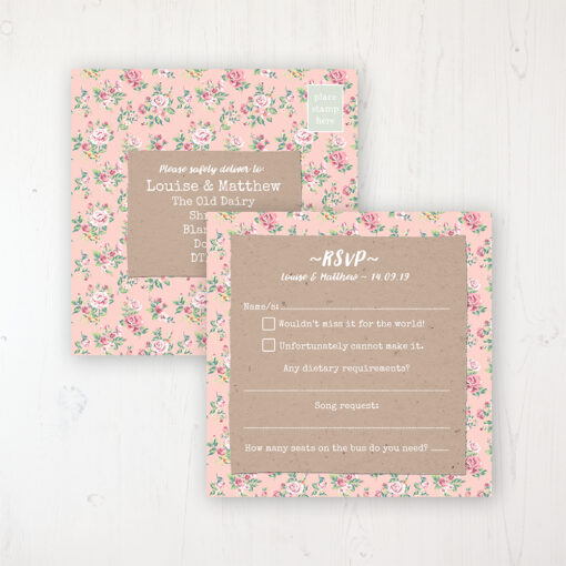 Country Wedding RSVP Postcard Personalised Front & Back