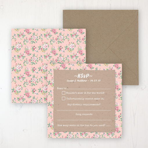 Country Wedding RSVP Personalised Front & Back with Rustic Envelope