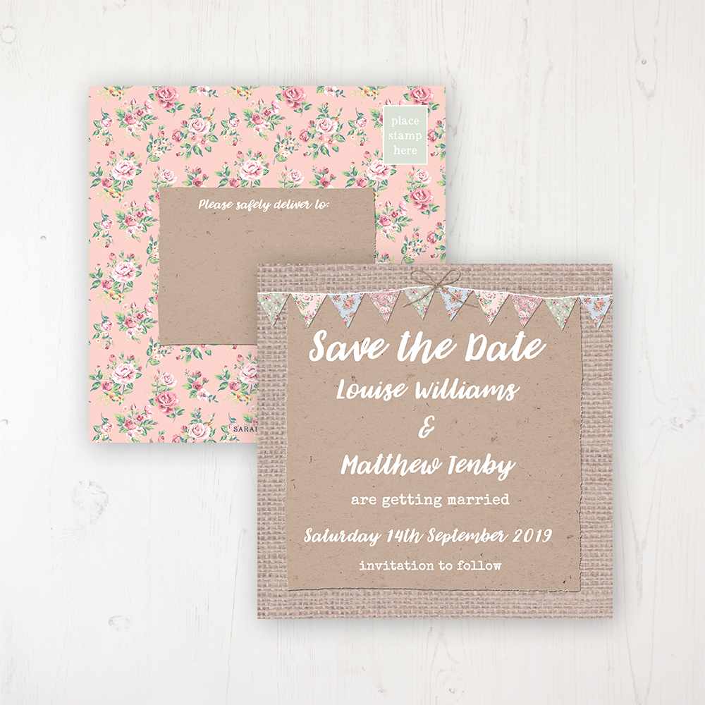 Country Wedding Save the Date Postcard Personalised Front & Back