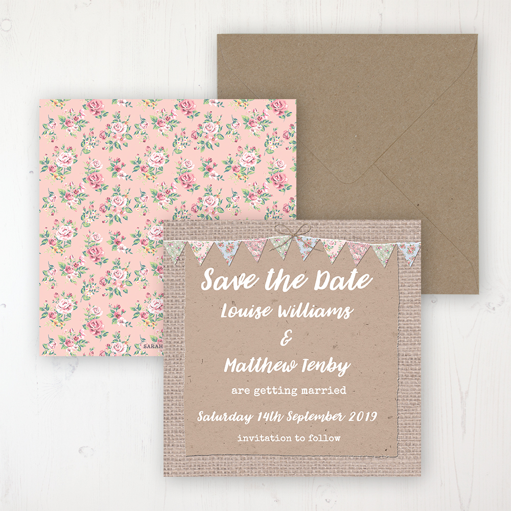 Country Wedding Save the Date Personalised Front & Back with Rustic Envelope