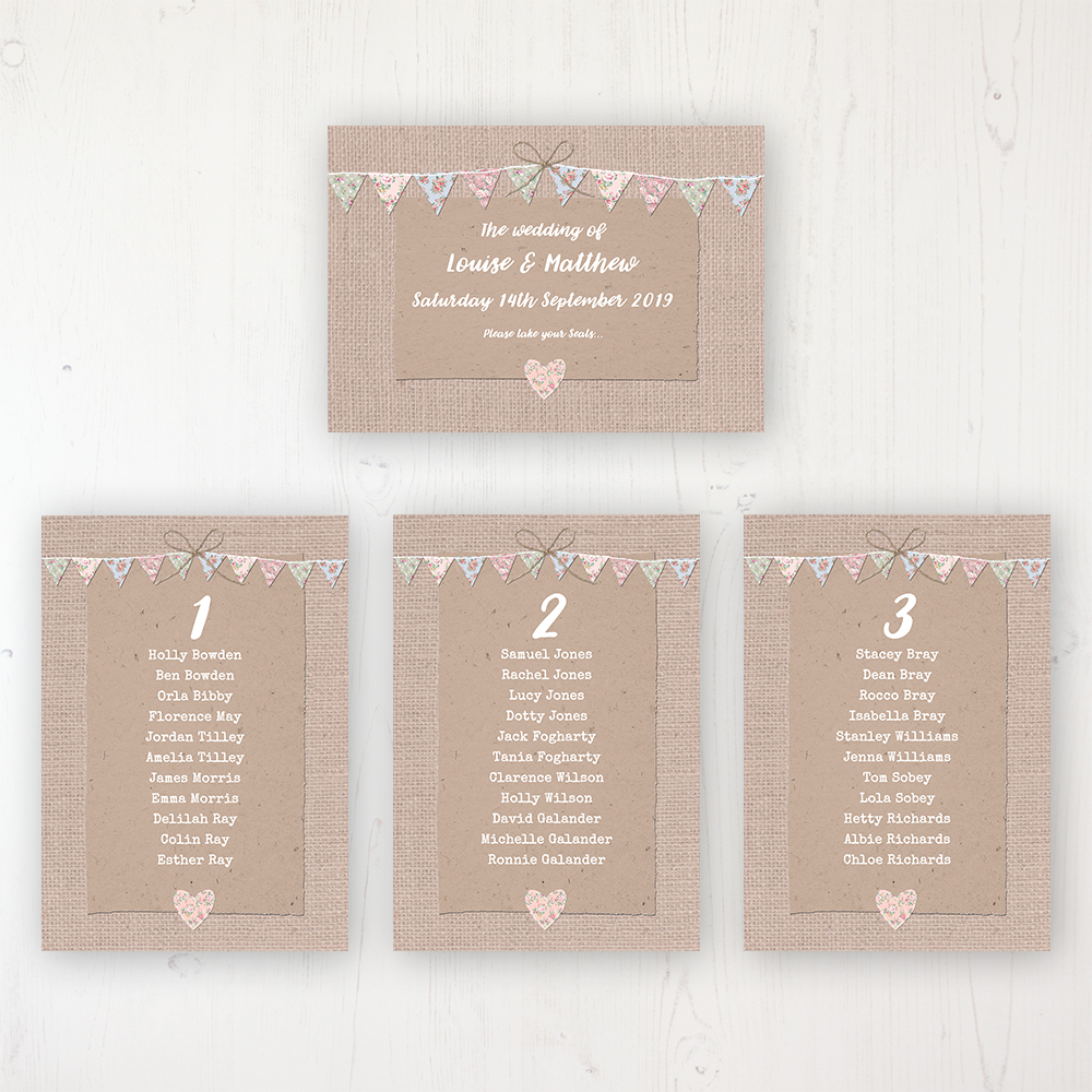 Country Wedding Table Plan Cards Personalised with Table Names and Guest Names