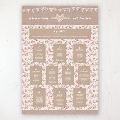 Country Wedding Table Plan Poster Personalised with Table and Guest Names
