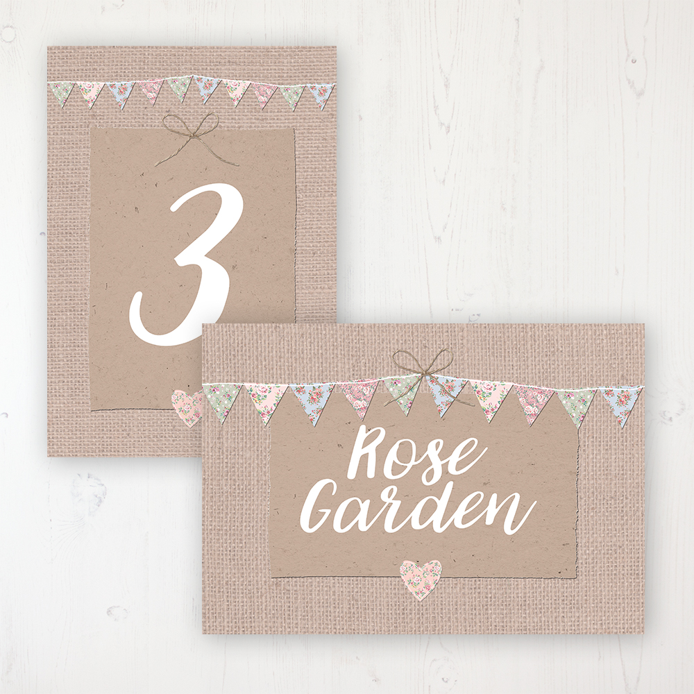 Country Wedding Table Name & Number Personalised Table Name Card and Number Card