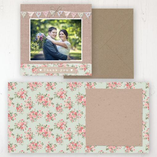 Country Wedding Thank You Card - Folded Personalised with a Message & Photo