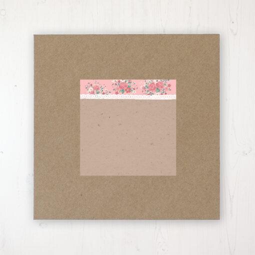 Floral Blooms Wedding Envelope Label on Rustic Brown Envelope
