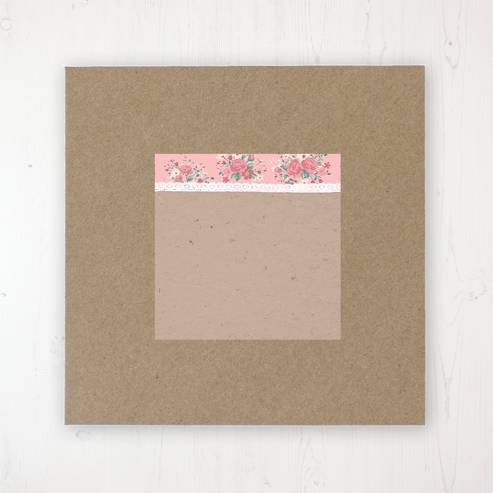 Floral Blooms Wedding Envelope Label on Rustic Brown Envelope