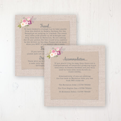 Floral Blooms Wedding Info Insert Card Personalised Front & Back