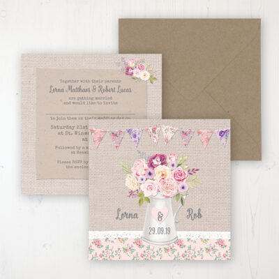 Floral Blooms Wedding Invitation - Flat Personalised Front & Back with Rustic Envelope