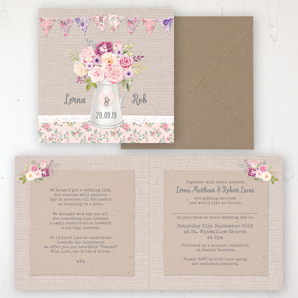 Floral Blooms Wedding Invitation - Folded Personalised Front & Back with Rustic Envelope