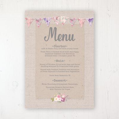 Floral Blooms Wedding Menu Card Personalised to display on tables