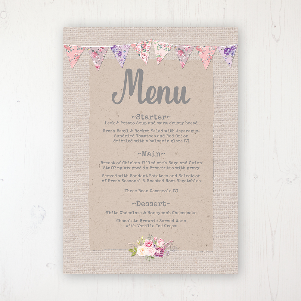 Floral Blooms Wedding Menu Card Personalised to display on tables