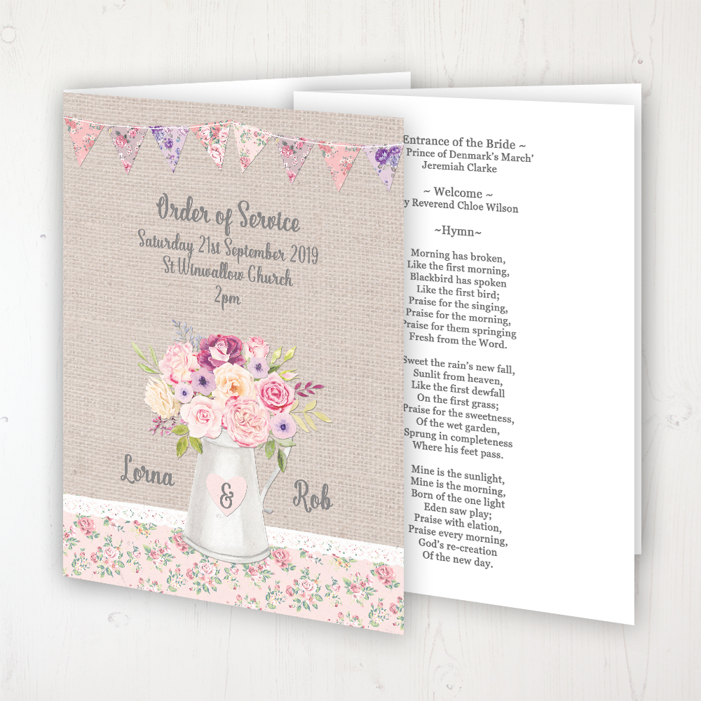 Floral Blooms Wedding Order of Service - Booklet Personalised Front & Inside Pages