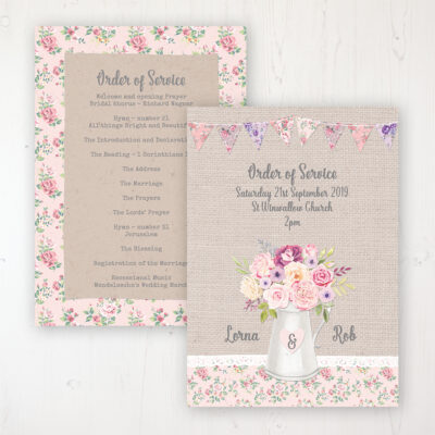 Floral Blooms Wedding Order of Service - Card Personalised front and back