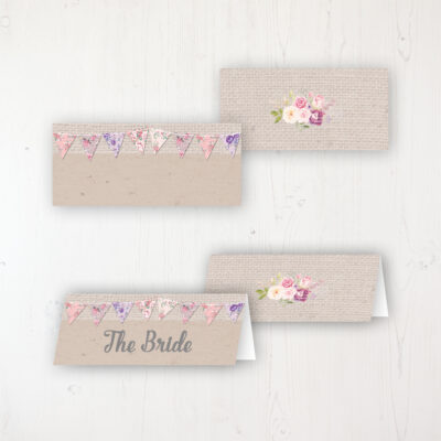 Floral Blooms Wedding Place Name Cards Blank and Personalised with Flat or Folded Option