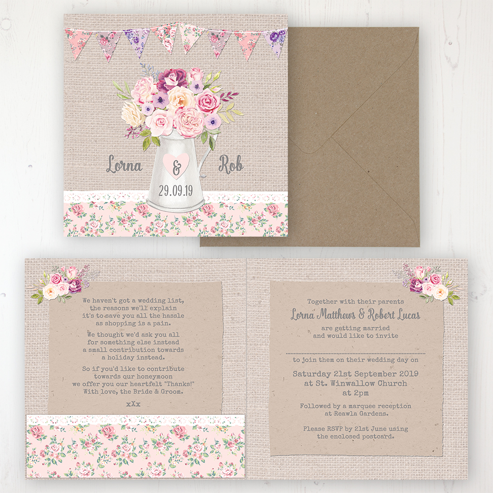 Floral Blooms Wedding Invitation - Folded Personalised Front & Back with Pocket in inside cover. Includes Rustic Envelope